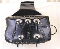 Leather Motorcycle Saddlebags with Conchos